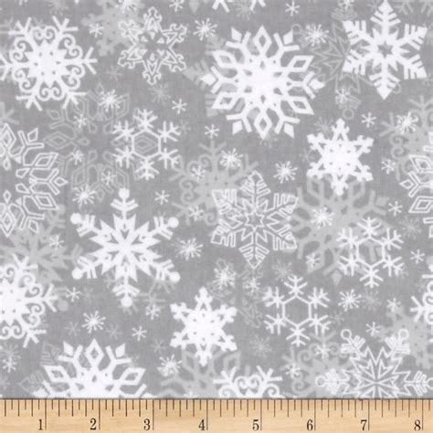 snowflake pattern material snow buddies flannel snowflakes gray discount designer