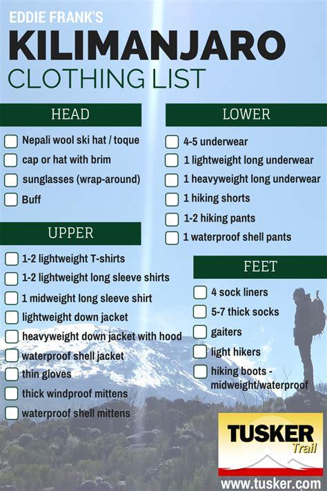 trekking mount kilimanjaro packing list her packing list a good kilimanjaro trekking gear list