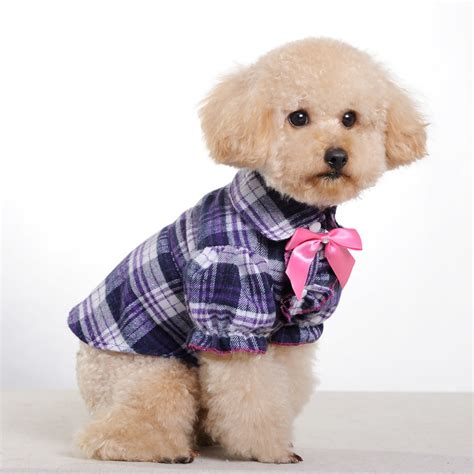pet dogs small middle clothes purple grid butterfly bow pet clothes for supply clothes