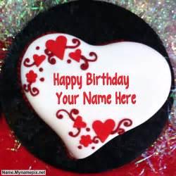 write name on heart shaped birthday cake happy birthday