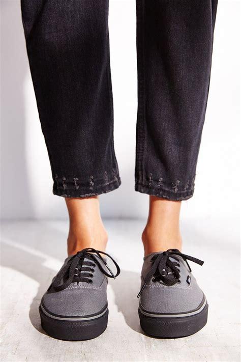 Vans Authentic Grey Black vans authentic black sole sneaker in gray lyst