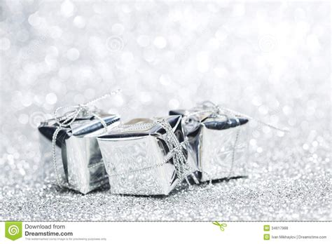silver christmas gifts royalty free stock photos image
