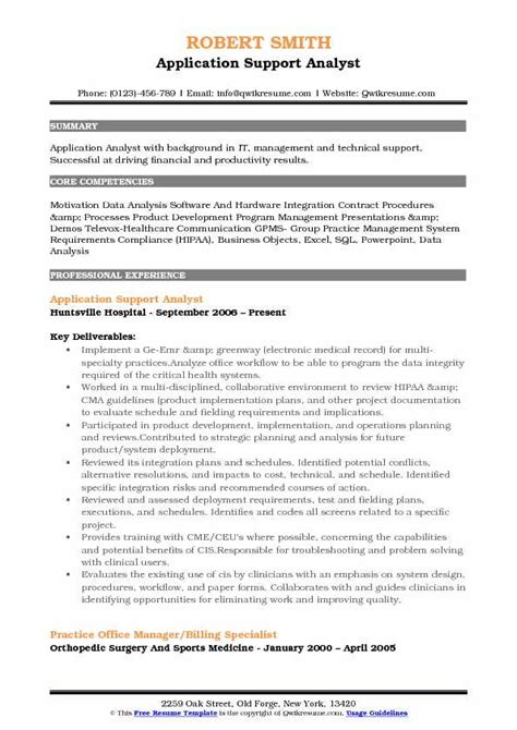 application support analyst resume sles qwikresume