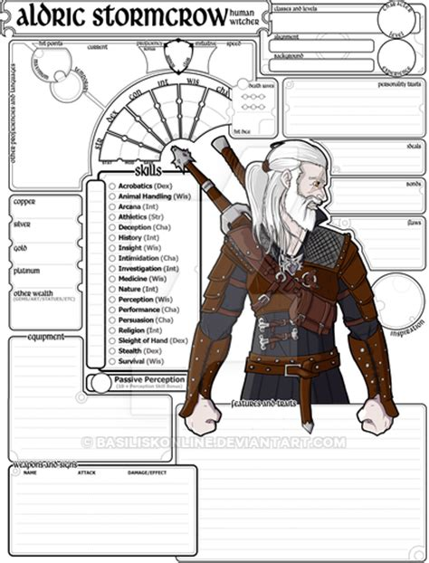 dd 3 5 template list commissioned character sheet 5e dnd aldric by