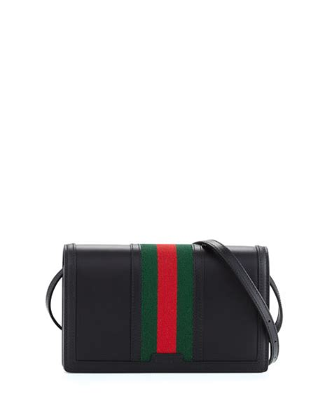 Coming New Gucci Web Leather With 2 Straps Medium gucci vintage web leather wallet w black