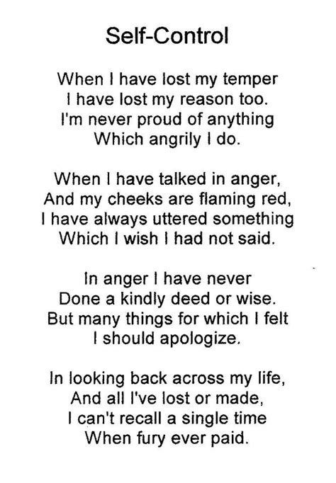 Self control poem | Self control, Poems, Spirit quotes