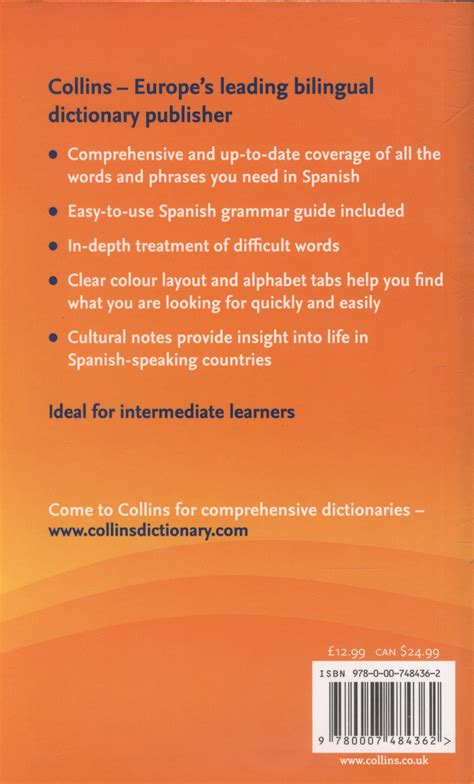 0007196490 collins dictionary and grammar collins spanish dictionary grammar by collins
