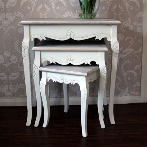 country shabby chic furniture wood nest tables living room shabby chic