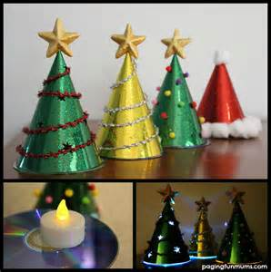 glowing christmas tree craft using party hats paging