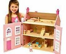 wooden dolls house pink 3 storey chad valley dolls