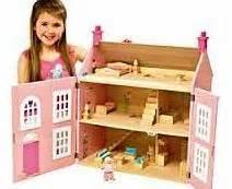 wooden dolls house pink 3 storey chad valley dolls