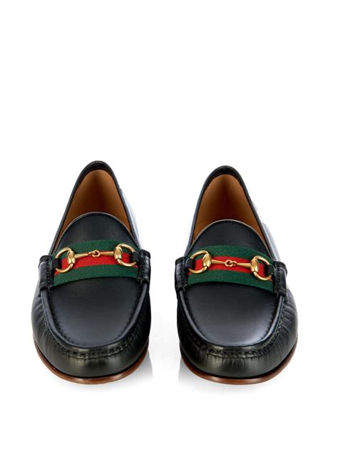 black gucci loafers gucci horsebit and web leather loafers in black lyst
