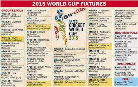 Icc World Cup 2015 Time Table by Icc Cricket World Cup 2015 Match Schedule Pdf