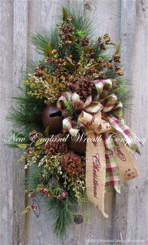 woodland merry christmas swag with sleigh bells rustic