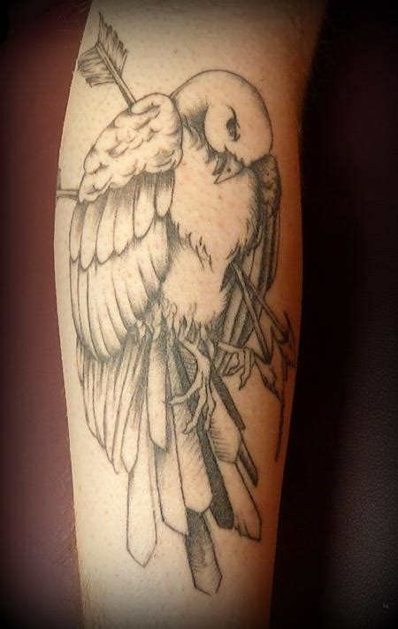 dead crow tattoo black and grey dead bird by garvey tattoonow