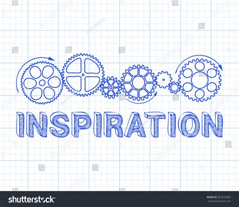 Inspiration Text Gear Wheels Hand Drawn Stock Vector Inspiration Text