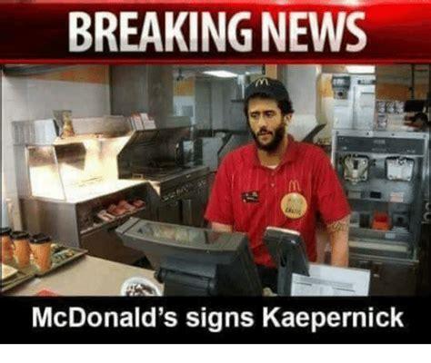 Kaepernick Squidward Meme - breaking news mcdonald s signs kaepernick funny meme on