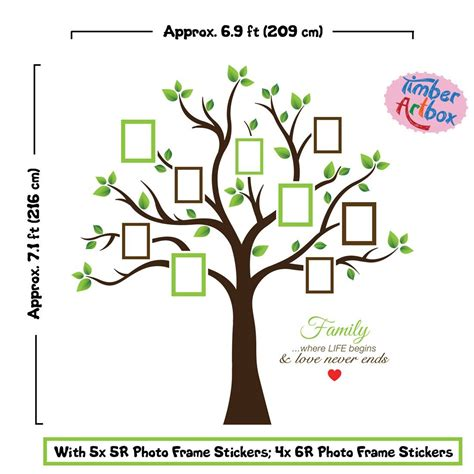 timber artbox large family tree photo frames wall decal family tree images free best family tree images