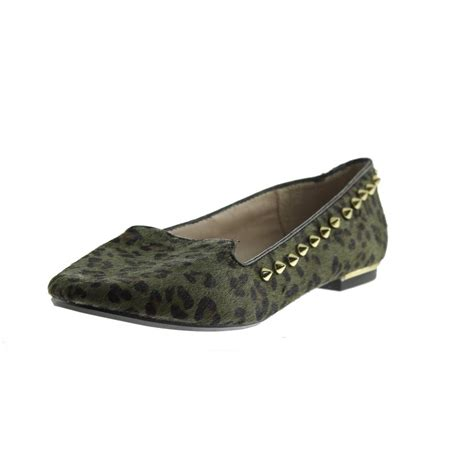 zara studded loafers zara 8145 new womens green calf hair studded
