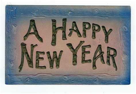 new year wood postcard a happy new year embossed log look border