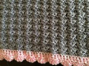 crochet baby car seat blanket in shell stitch with shell