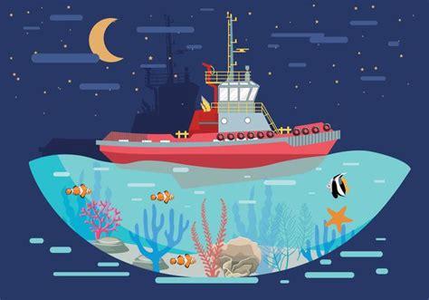 tugboat vector tugboat landscape vector download free vector art stock