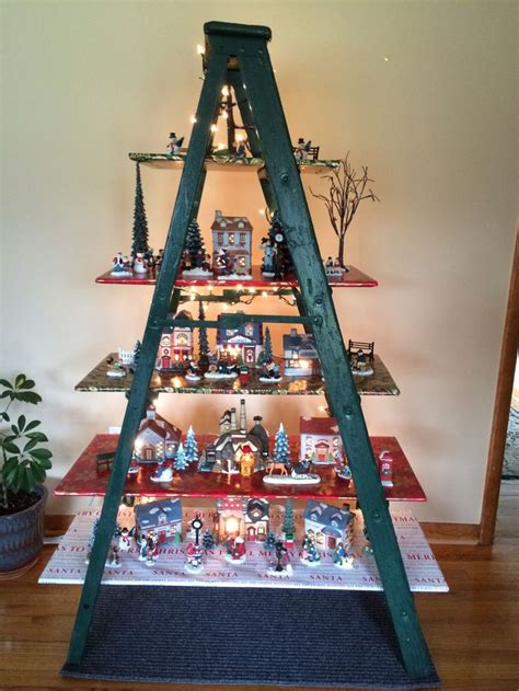 christmas village ladder display customer up cycled wooden step ladder into his display up cycle projects