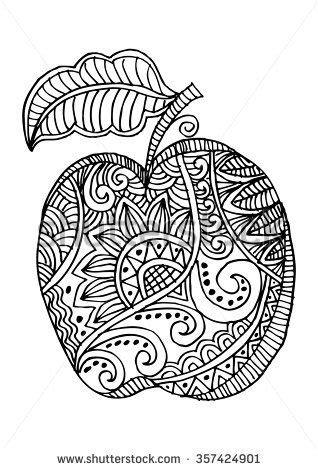 zentangle apple emoji drawings drawings  coloring