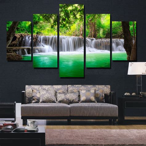 banmu  panel waterfall painting canvas wall art picture