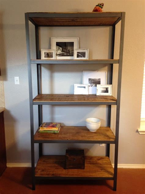 Home Design Living Room Classic hand made wood shelf with metal frame by made by hand in