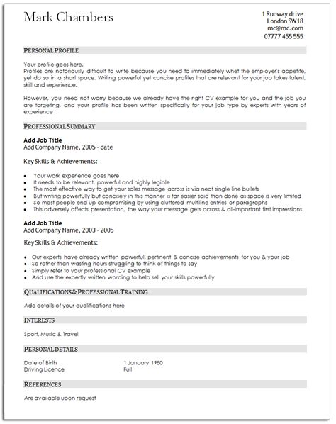 Cv Template Uk Gov free cv templates traditional cv templates
