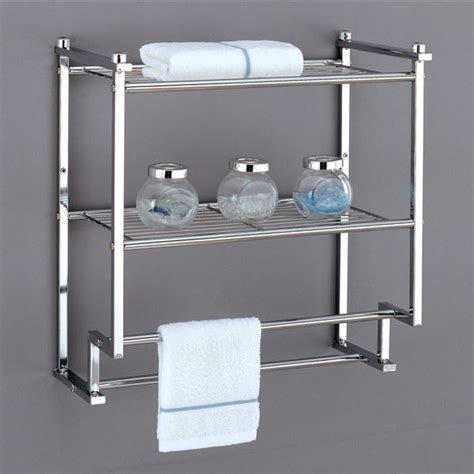 Bathroom Metal Shelves Shelves Metro Collection 2 Tier Wall Mounting Rack With Towel Bars By Neu Home Kitchensource