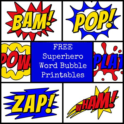 printable super heroes pictures superhero word bubbles party invitations ideas