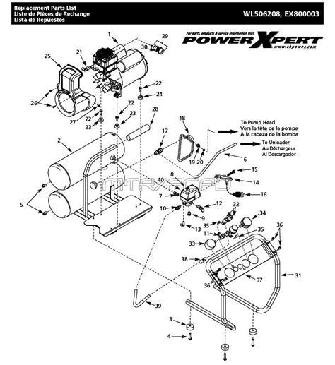 cbell hausfeld parts wl506208 wl506208aj ex800003 air compressor