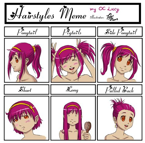 anime hairstyles personality hairstyles meme with lucy by tobsen85 on deviantart