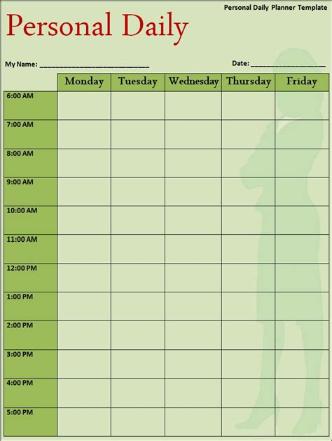 templates for daily agenda microsoft word daily planner template