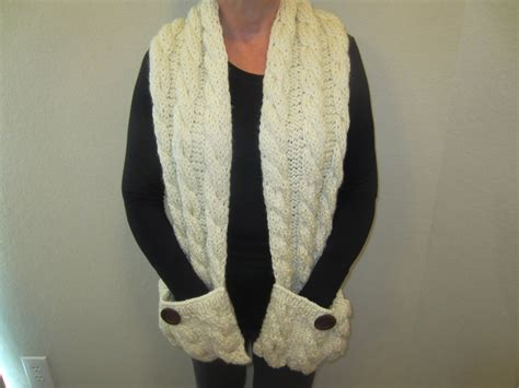 knitting pattern scarf with pockets cream hand knit scarf with pockets