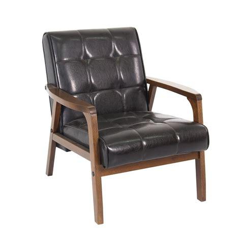 modern accent chair leather tufted contemporary brown club chaise furniture wood ebay
