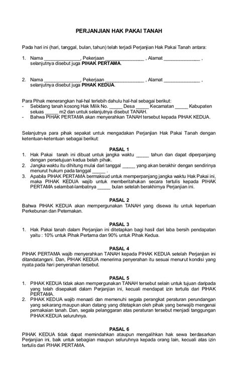 surat perjanjian hak pakai tanah