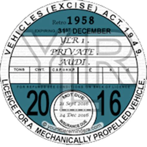 printable road tax disc order a car or vehicle road tax mot insurance reminder disc