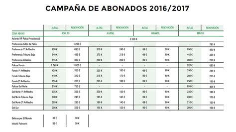 precios de prepagas 2016 todos los detalles de la ca 241 a de abonos del betis 2016