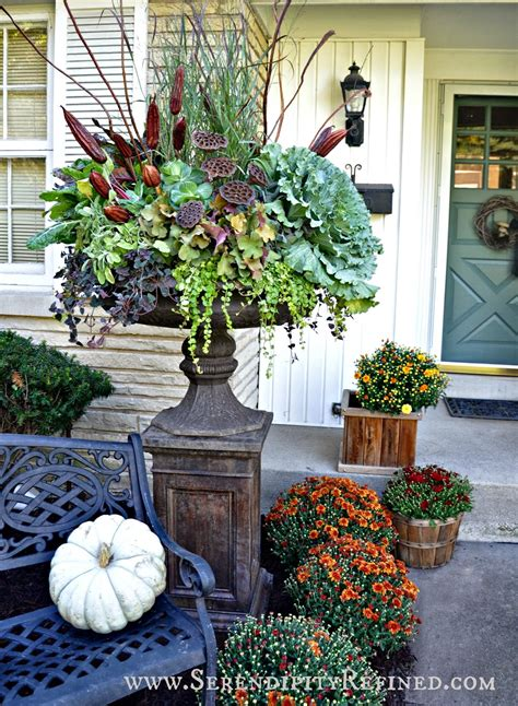 Urn Decorations serendipity refined fall porch and urn decorations