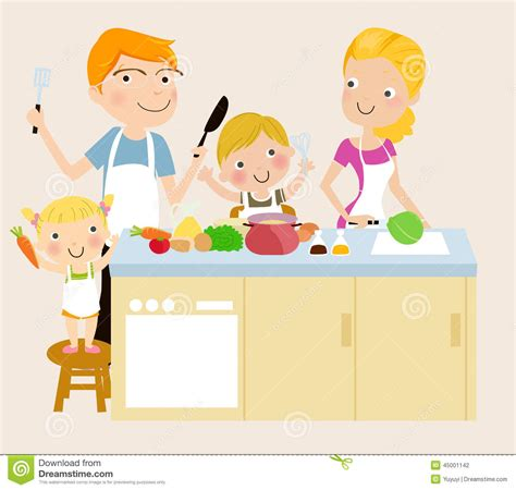 Kitchen Tea Ideas Themes family cooking stock vector image 45001142