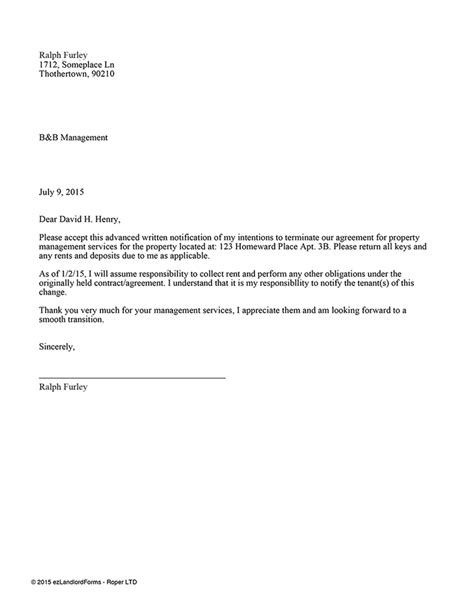Termination Letter For Management Company Property Management Contract Termination Ez Landlord Forms