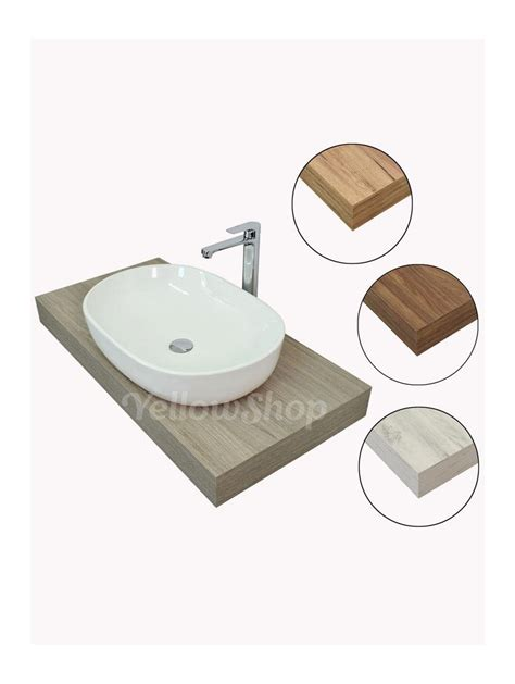 mensola legno per lavabo da appoggio mensola per lavabo mensolone in legno cm 80x50xh10