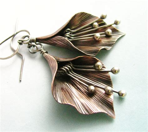 Handcrafted Metal - mixed metal flower earrings argentium sterling silver and