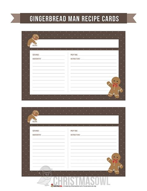 Gingerbread Recipe Card Template by 94 Best Recipe Cards Images On Printable
