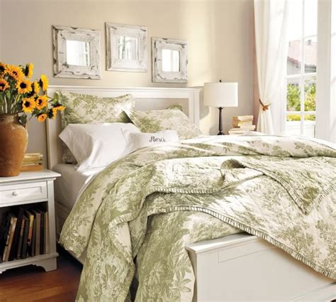 green toile bedding matine toile quilt sham pottery barn