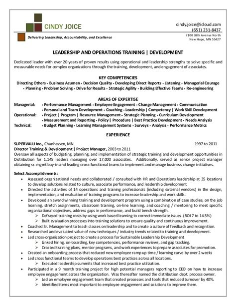 Resume Samples Executive by Cindy Joice Resume For Director Of Training And Development