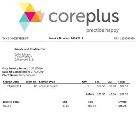 medicare receipt template invoicing health practice management software